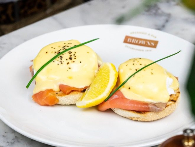 Eggs Benedict as served at Browns Manchester restaurant in the city centre.