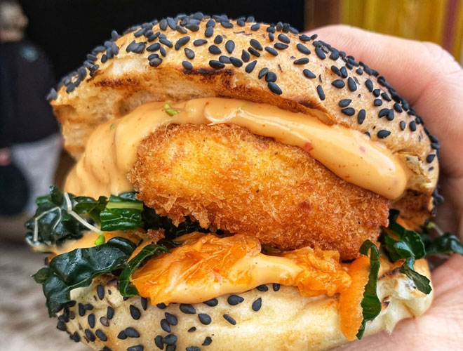 Tofu Pinger Burger at Plant-Grill, Escape to Freight Island, Manchester