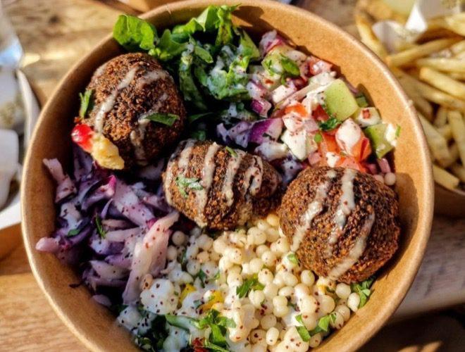 House felafel salad bowl at Hafla Hafla, a restaurant serving Middle Eastern-inspired food on Liverpool's Lark Lane.