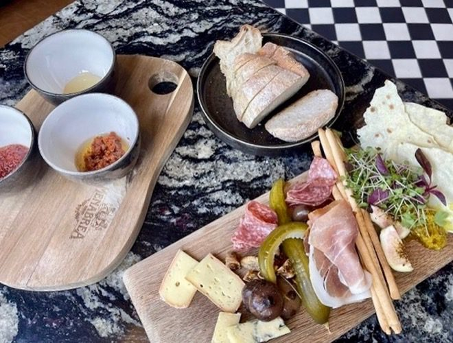The cheese and meat sharing board at Haunt - a recommended wine bar and coffee shop in Manchester city centre.