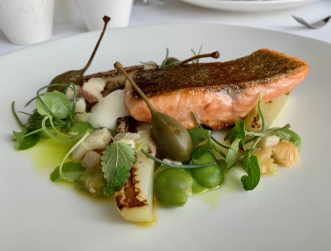 One of the dishes served at Panoramic 34 - a fine-dining restaurant with spectacular views in Liverpool city centre.